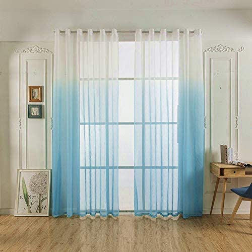 Yancorp Linen Ombre Curtains 2 Panels 96 inch Length Sheer Voile White Blue Teal Curtian Drapes Girls Bedroom Living Room Window Decor