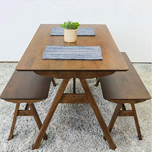 Mid-Century Modern Stella Walnut Wood (2) Bench Dining Set