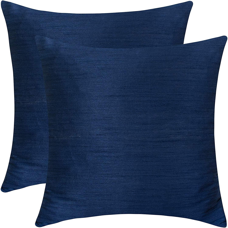 The White Petals Dark Blue Throw Pillow (Set of 2 Covers, Faux Raw Silk, Dark Blue, 18x18 inches)