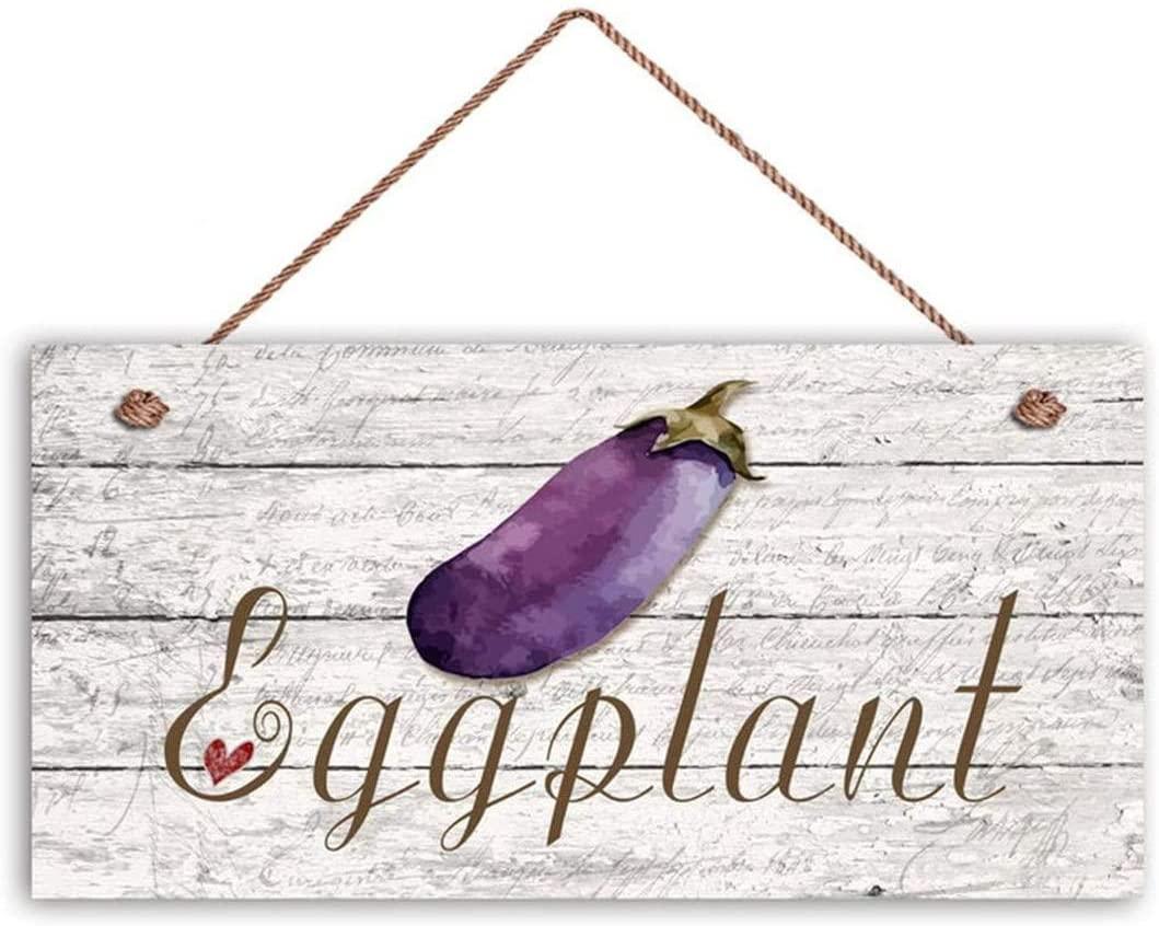 MAIYUAN Eggplant Sign, Garden Sign, Rustic Decor, Distressed Wood, 12x6 Sign, Vegetable Sign, Gift for Gardener(KH2534)