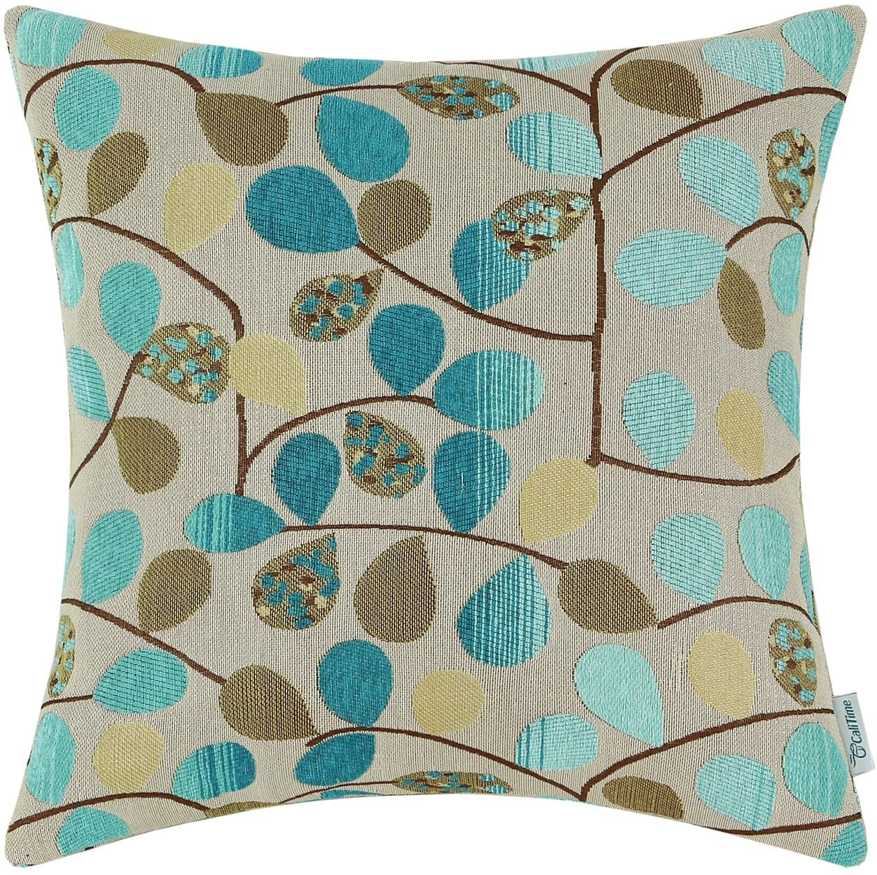CaliTime Cushion Cover Throw Pillow Case Shell for Couch Sofa Home Decoration Luxury Chenille Cute Leaves Both Sides 18 X 18 Inches Ecru Teal