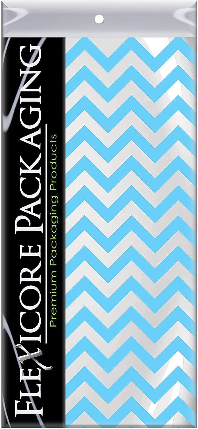 Flexicore Packaging Light Blue Chevron Print Gift Wrap Tissue Paper Size: 15 Inch X 20 Inch | Count: 100 Sheets | Color: Light Blue Chevron