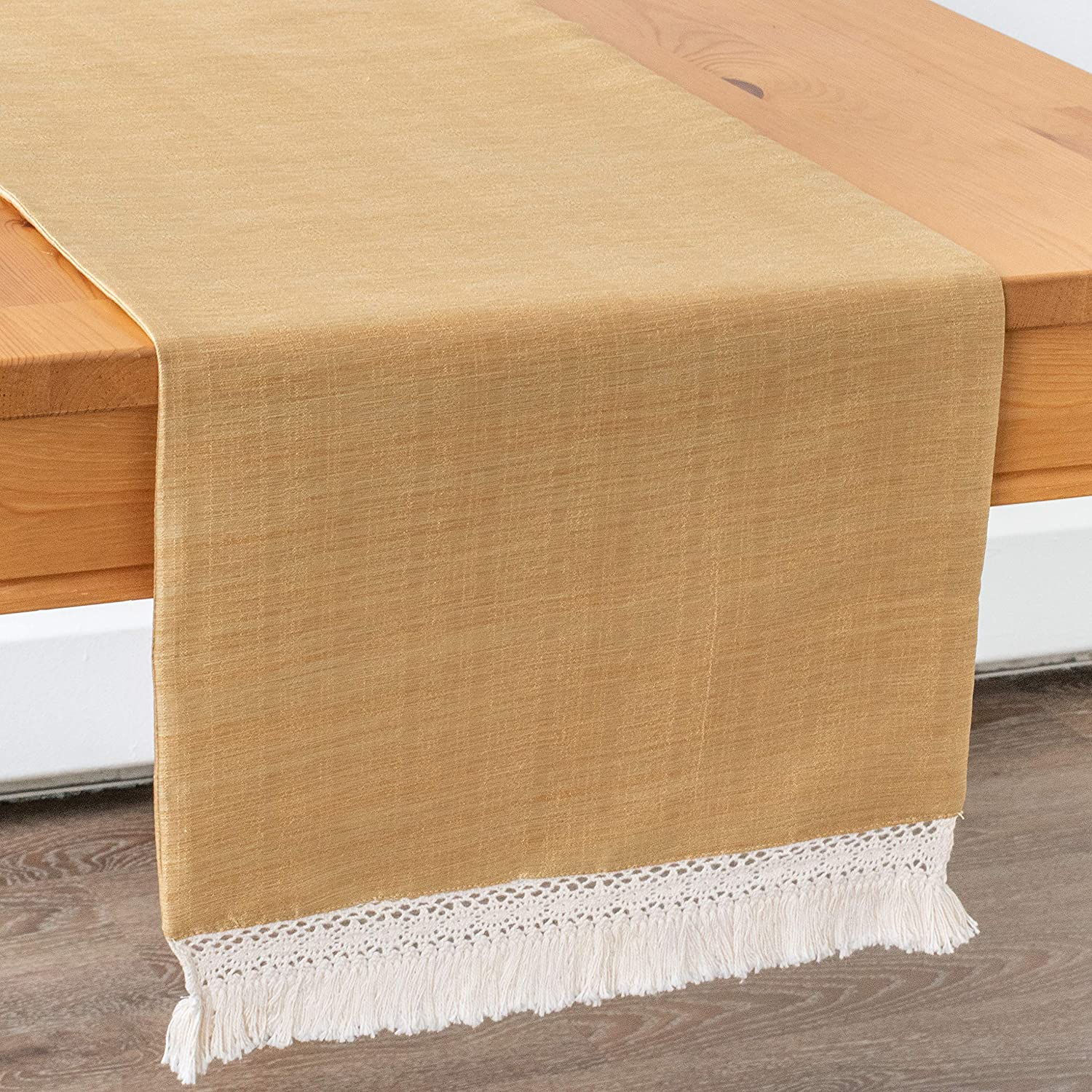 Gold Dining Table Runners With Macrame Lace Boho Decor (13x120 inch, Pack of 1) Fabric Lined   Properly Finished, No Fray Edges   for Home, Kitchen, Dining Room, Holiday, Wedding Party