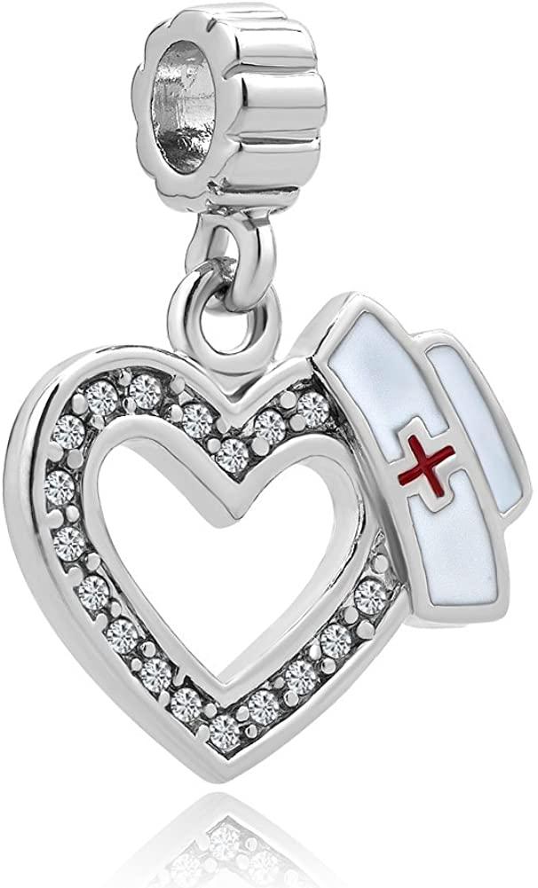 CharmSStory Heart Nurse Clear Synthetic Crystal Beads Charm for Bracelets