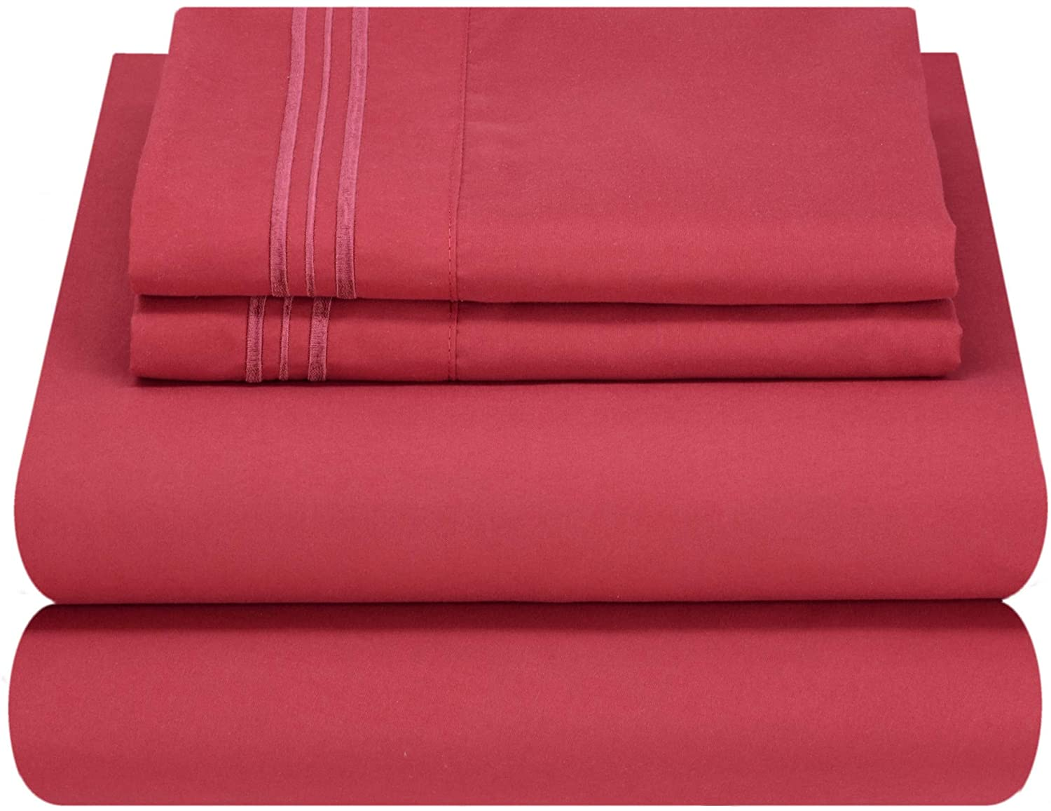 Mezzati Luxury Bed Sheet Set - Soft and Comfortable 1800 Prestige Collection - Brushed Microfiber Bedding (Burgundy, Cal King Size)