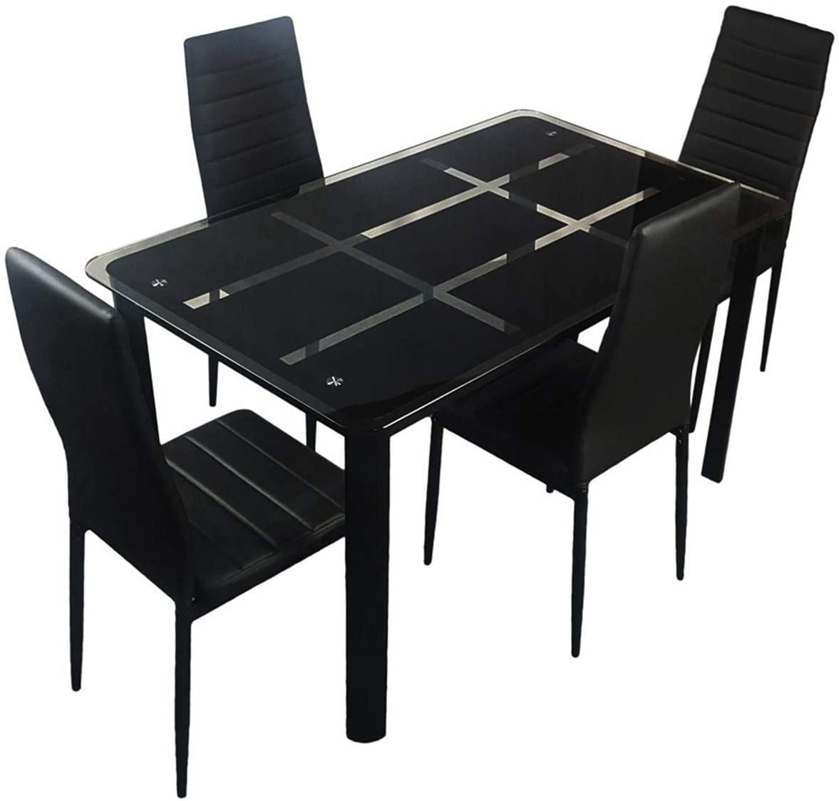 Rectangle Tempered Glass Dining Table with Nine Block Box Pattern Black and 4pcs Elegant Assembled Stripping Texture High Backrest Dining Chairs Black Dining Chair Indoor-Outdoor Use Table and Chairs