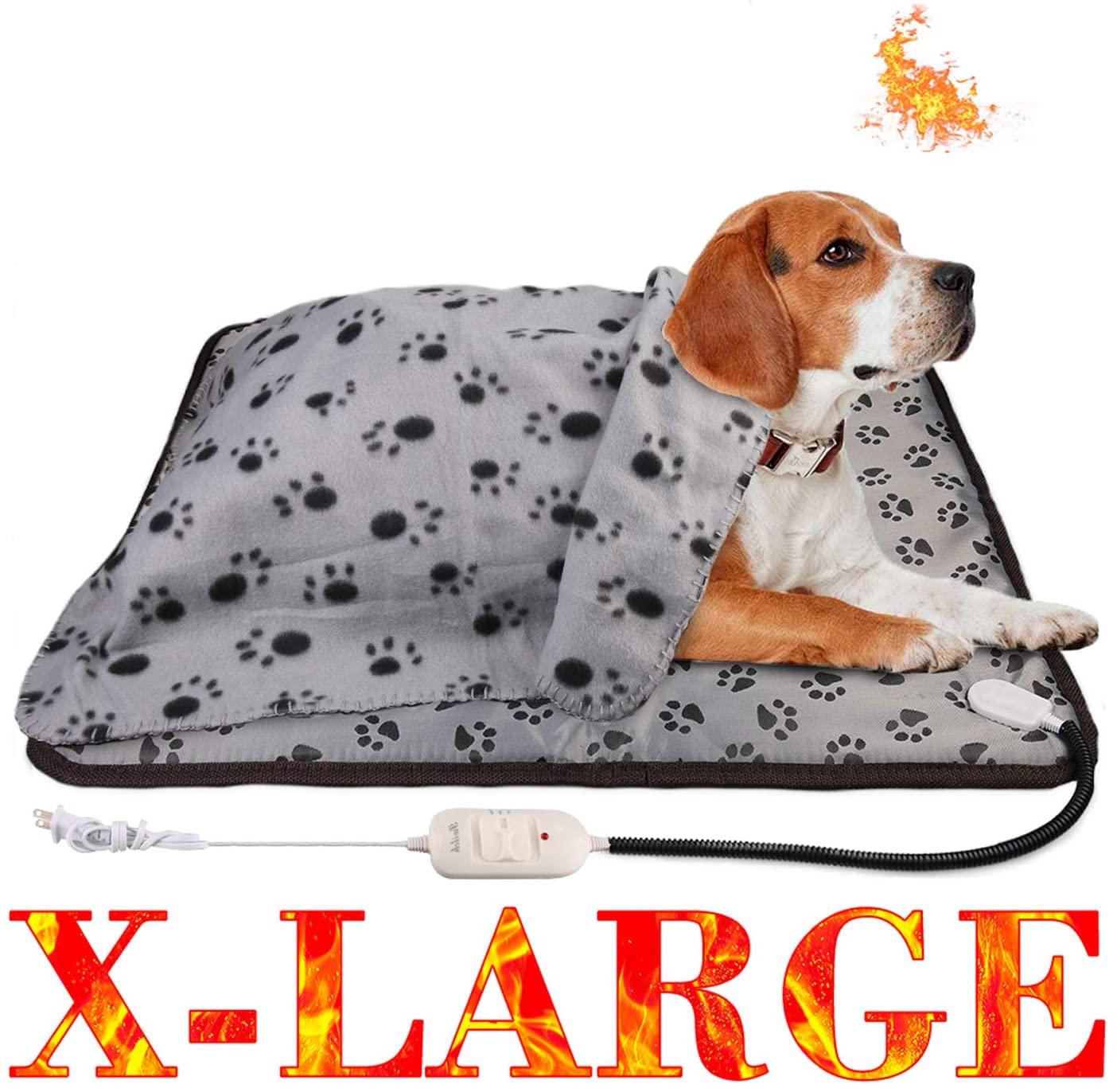 wangstar 2pcs Electric Pet Heat Pad 28x23.6, Heat Mat Pet Dog Cat Pets Heating Pad Temperature Adjustable Waterproof Chew Resistant Pet Heated Mat (28x23.6, X-Large Heating Pad)