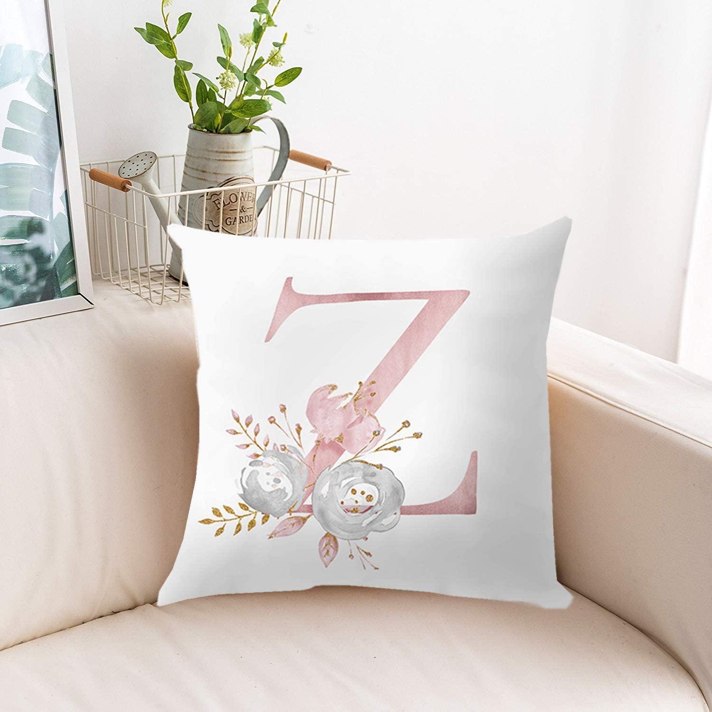 JR European Minimalist Pink 26 English Alphabet Short Plush Pillow Case Cute Linen Sofa Pillow Case Car Cushion Cover Bedroom Pillowcase 18 x 18 Inch 45 x 45 cm Creative Style (Z)