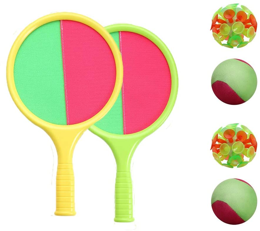 TOCO FREIDO Self-Stick Toss and Catch Game Set, Paddles and Toss Ball Sports Game with 2 Paddles, 2 Balls(1 Plush Balls & 1 Adsorption Ball) for Kids Gift Idea