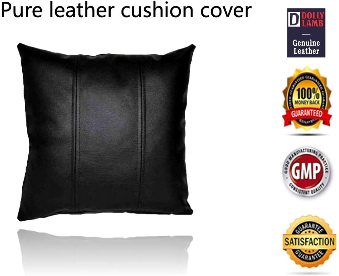 DOLLY LAMB 100% Lambskin Leather Pillow Cover - Sofa Cushion Case - Decorative Throw Covers for Living Room & Bedroom - 16x16 Inches - Black Pack of 1