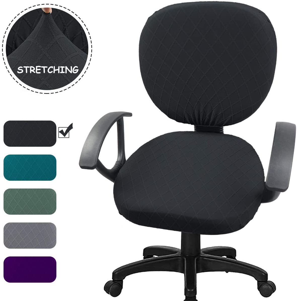 Office Chair Cover, Soft Stretchable Geometric Jacquard Office Computer Chair Square Round Cushion Seat Cover & Back Slipcover, Charcoal Black-Dark Gray