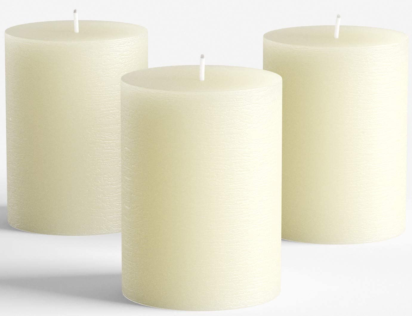 Set of 3 Ivory Pillar Candles 3