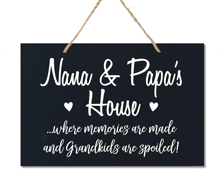 LifeSong Milestones Grandparent Loving Memories Home Decor Gift Plaque for Grandma Grandpa Grandparents Granddad Papa Nana 8 x 12 (Nana and Papa Black)