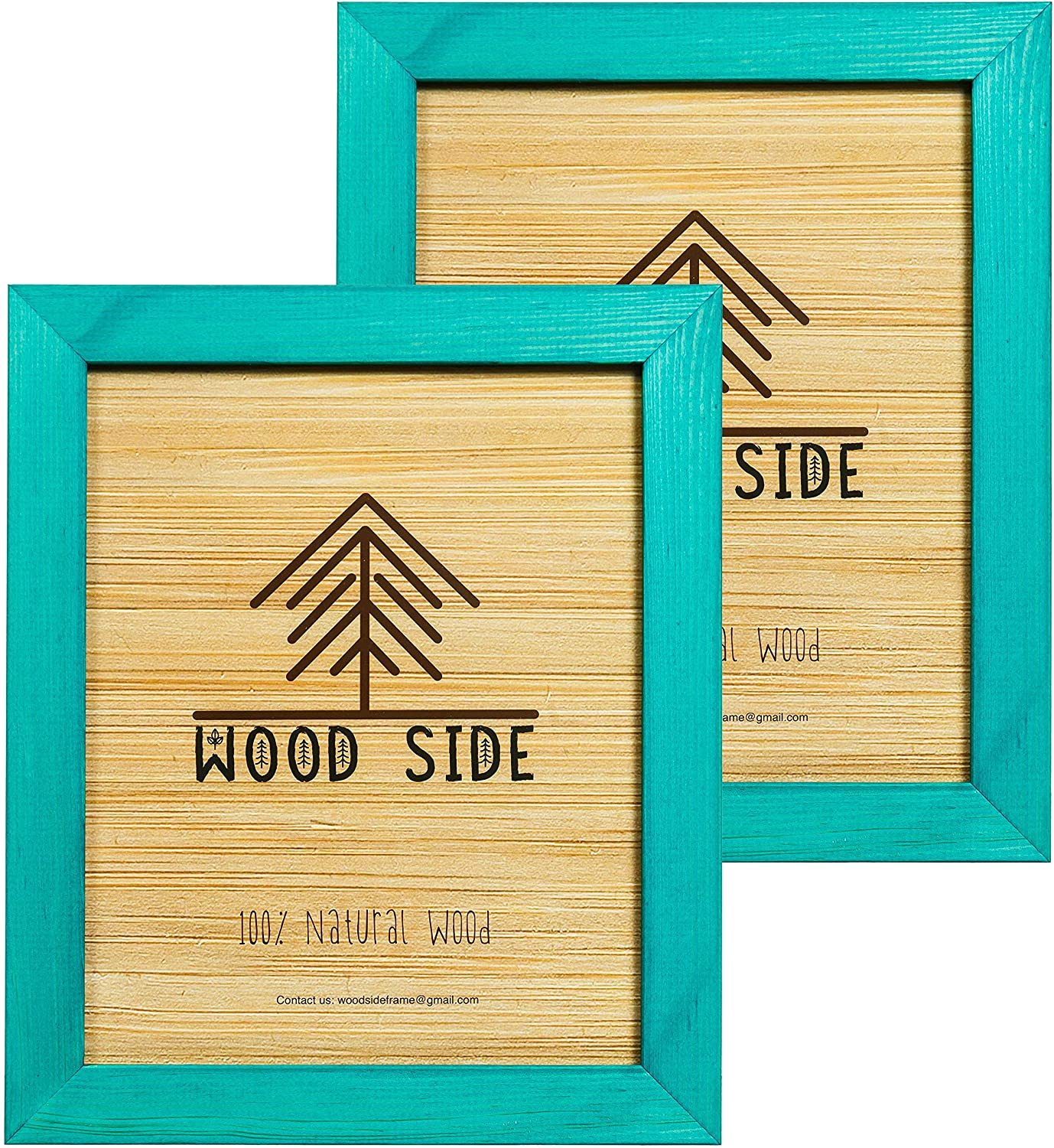 Rustic Wooden Picture Frame 5x7 Inch - Set of 2- Natural Eco Distressed Wood and Real Glass - Made for Wall and Table Top Display - Emerald