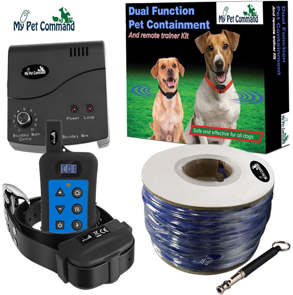 My Pet Command Wireless Underground Dog Fence System, Dual Function With Remote Dog Training Collar System Safe Pet Containment Waterproof Shock Collar Extra Thick Durable Polyolefin 13 AWG Wire Fence