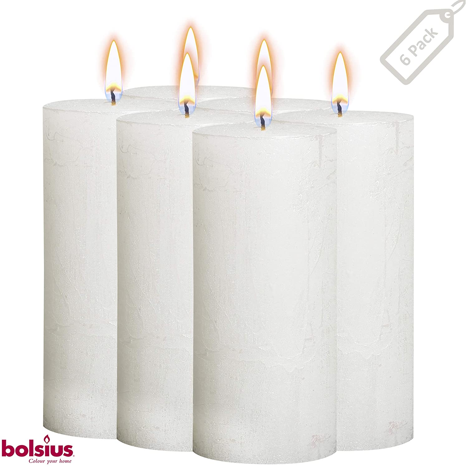 Bolsius Rustic Metallic Set of 6 White Unscented Pillar Candles – 2.75 X 7.5 Inches Decoration Dinner Party Wedding Candles – Perfect Use for Home Décor - Church-Spa Candle – Restaurant 190/68m