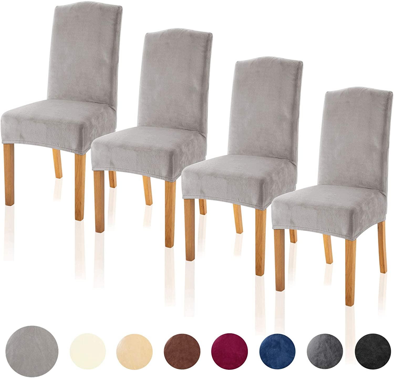 TIANSHU Velvet Dining Chair Cover Soft Stretch Dining Room Chair Slipcover Set of 4, Light Gray