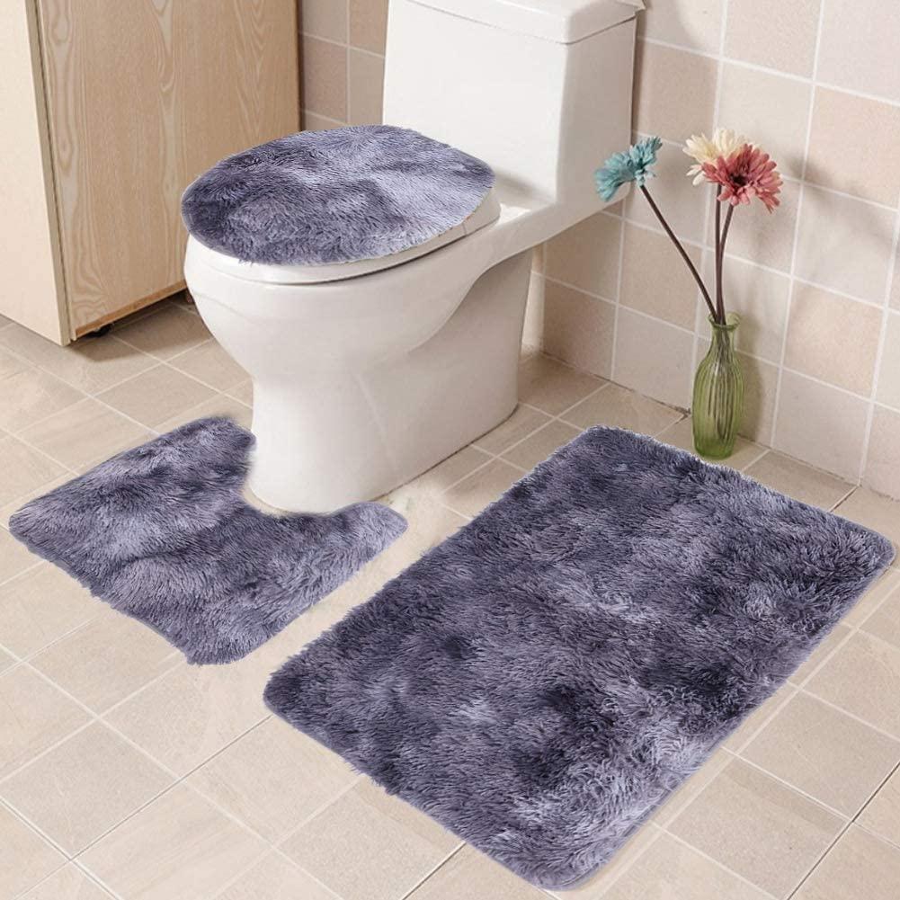 Eurobuy 3Pcs Non-Slip Bath Mat Set Bathroom Rug Set Soft Toilet Lid Cover Bath Mat Contour Rug Home Decoration