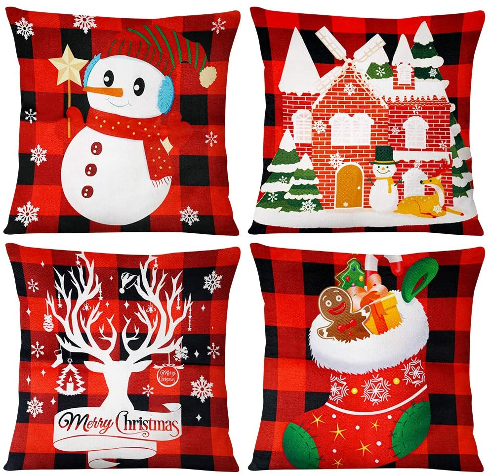 Johouse Christmas Pillow Covers, 18 x 18inches Decorative Christmas Throw Pillowcases, 4PCS Christmas Buffalo Check Plaid Throw Pillow Cases