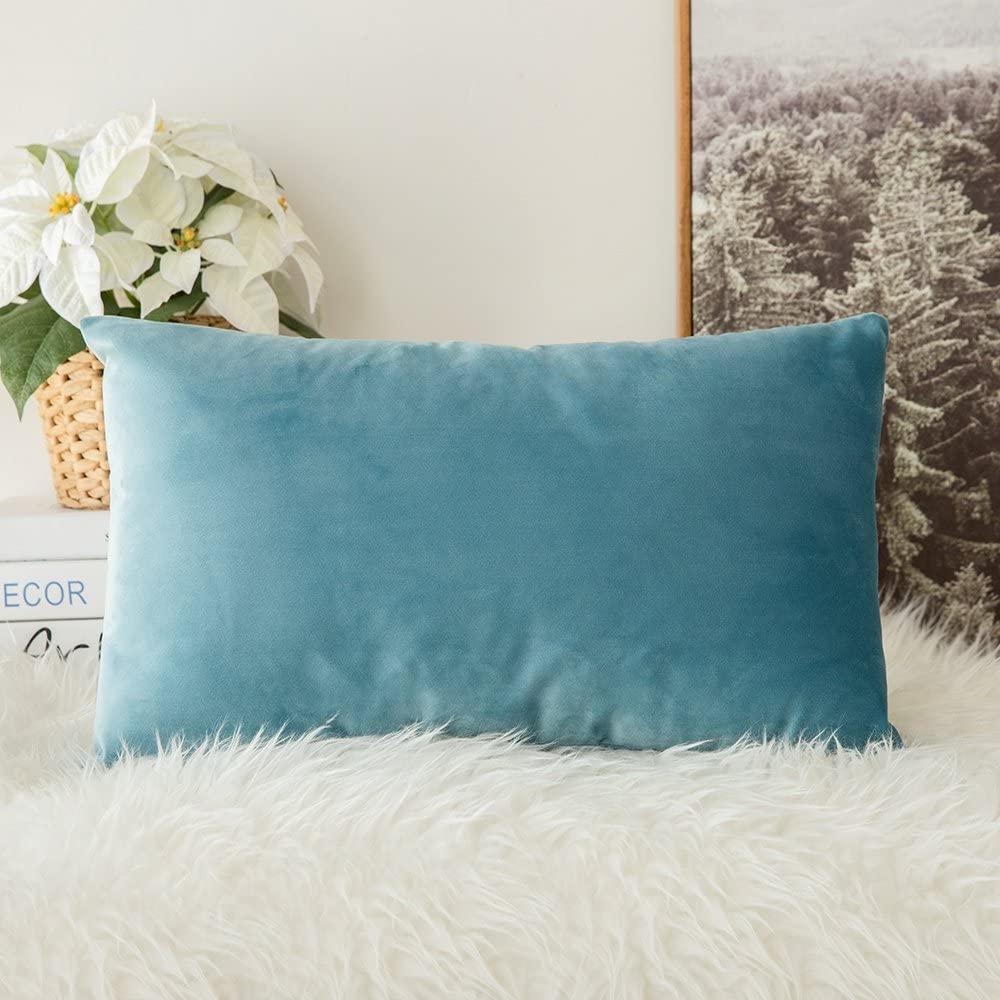 MIULEE Velvet Soft Soild Decorative Square Throw Pillow Covers Cushion Case for Sofa Bedroom Car 12 x 20 Inch 30 x 50 cm