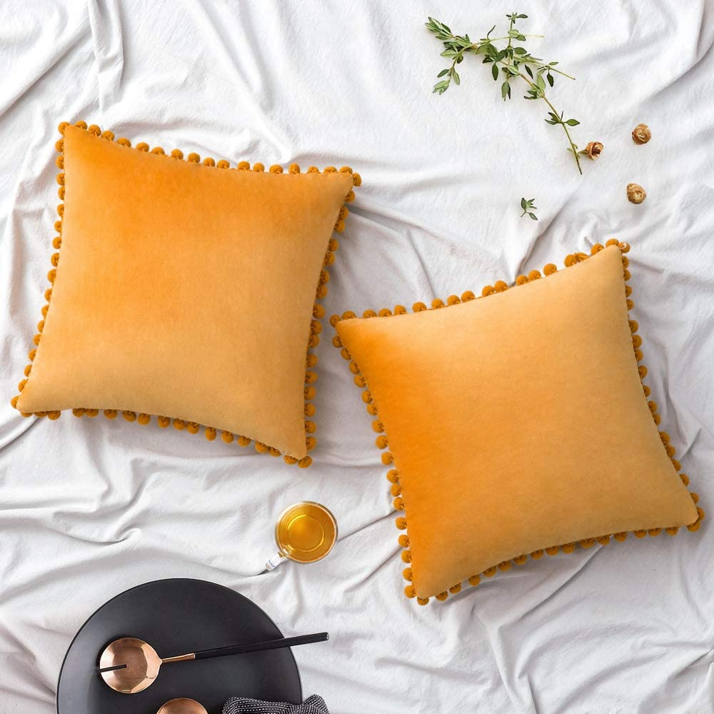 Woaboy Pack of 2 Velvet Throw Pillow Covers Pompom Decorative Pillowcases Solid Soft Cushion Covers with Poms Square for Couch Living Room Sofa Bedroom Car 20x20inch 50x50cm Mustard Yellow