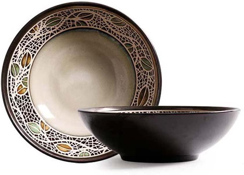 Retro Ceramic Tableware Bowls, Shallow Mouth Salad Bowl