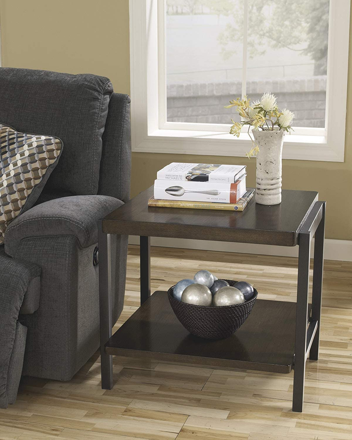 GTU Furniture Espresso Coffee Table w/Moving Wheels (End Table)