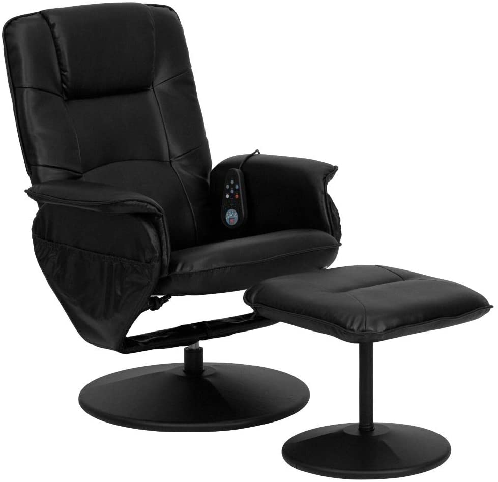 Flash Furniture Massaging Adjustable Recliner with Deep Side Pockets and Ottoman with Wrapped Base in Black LeatherSoft