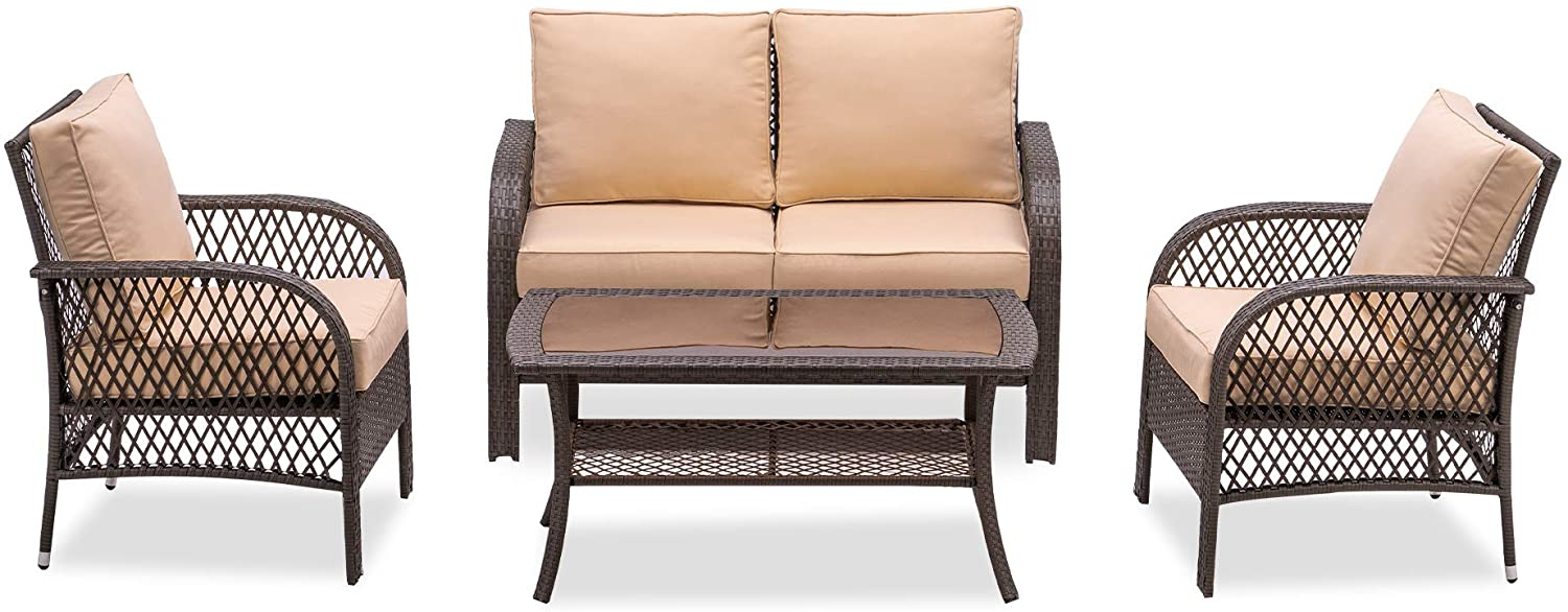 MCombo Wicker Patio Furniture Sofa Set,4 Pieces Outdoor Wicker Chair Cushioned Loveseat, All-Weather Lawn Gray Rattan Conversation Chair with Tempered Glass Coffee Table for Garden 6082-9576 (Beige)