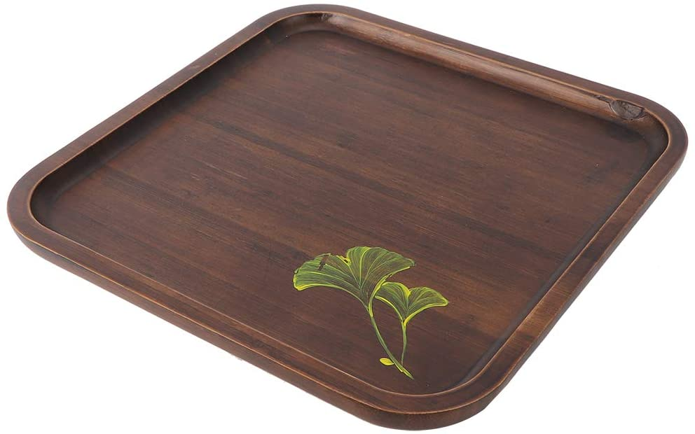 Bicaquu Practical Food Tray, Quadrate Shaped Serving Tray, Durable Bamboo Wear Resistant Vintage for Home Kitchen(Big)