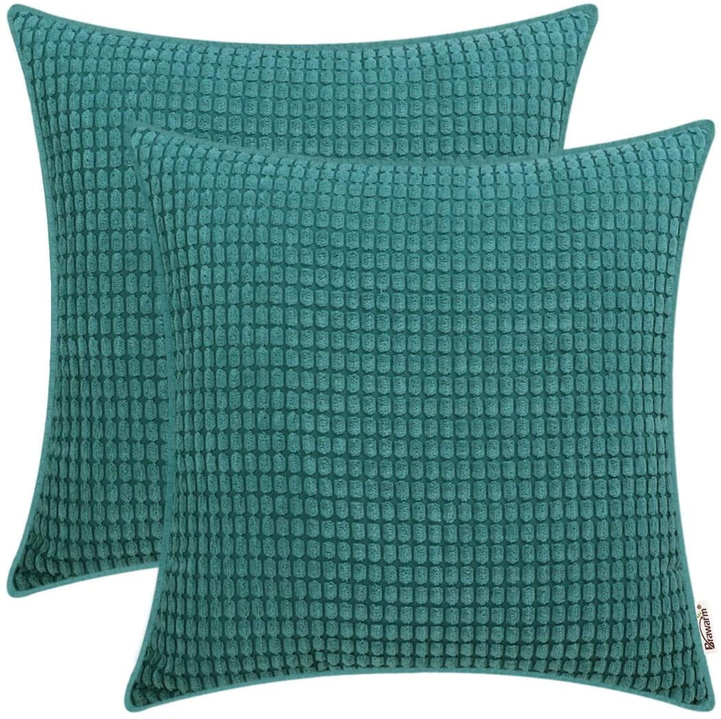BRAWARM Pack of 2 Cozy Throw Pillow Covers Cases for Couch Sofa Home Decoration Supersoft Corduroy Corn Striped with Piping Both Sides 22 X 22 Inches Teal