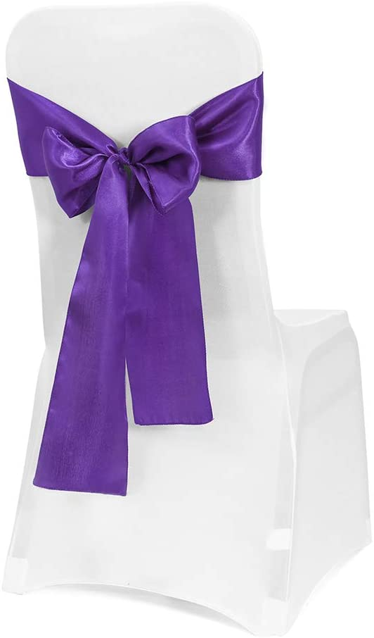 Obstal 50 PCS Satin Chair Sashes Bows for Wedding Reception- Universal Chair Cover Back Tie Supplies for Banquet, Party, Hotel Event Decorations