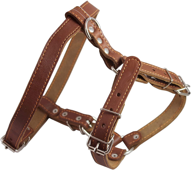Genuine Leather Dog Walking Harness Medium Brown, 21