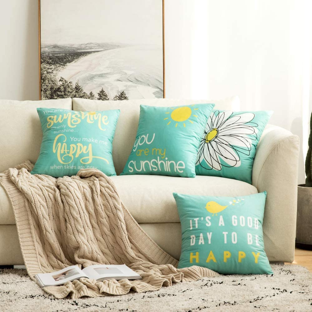 MIULEE Pack of 4 Decorative Cute Throw Pillow Covers Cheery Quote Words Bird Sunshine Flower Cushion Case Sham Pillowcases for Couch Sofa Bed 18 x 18 Inch Teal