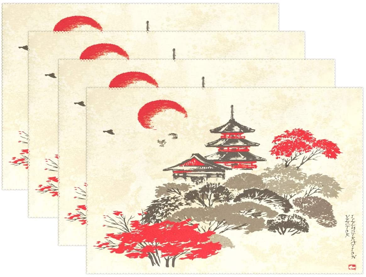Yochoice ALAZA Vintage Japanese Pagoda Ink Placemat Plate Holder Set of 1, Polyester Table Place Mats Protector for Kitchen Dining Room 12