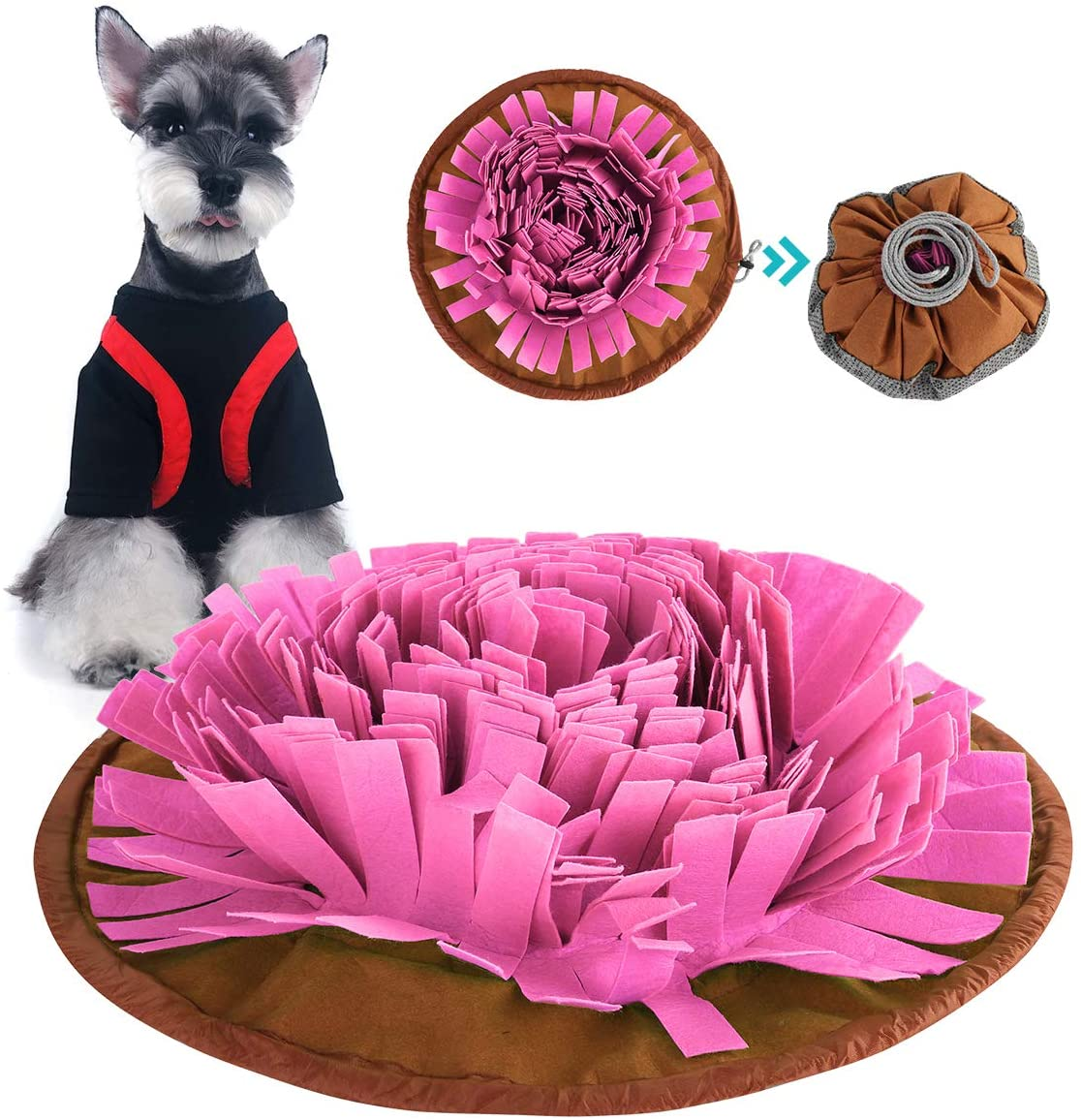 Yuehuam Snuffle Mat for Dogs, Pet Slow Feeding Mat Interactive Feed Game Nosework Foraging Training Interactive Puzzle Treat Play Mat Pad Toy for Puppy Doggies