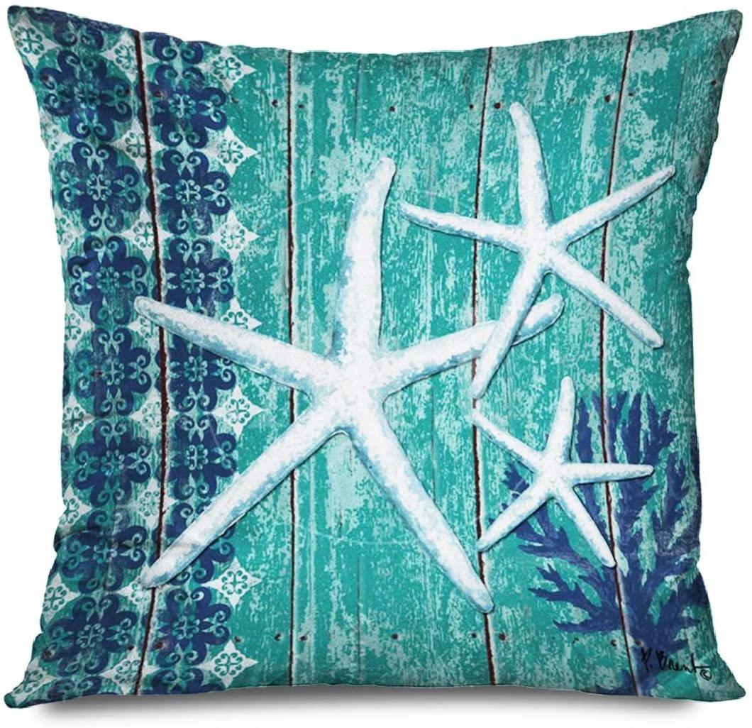 FAREYY Sea Pillowcase Sea Theme Nautical Green Sea Star Decorative Throw Pillows Cushion Cover for Bedroom Sofa Living Room 18 x 18 Inches