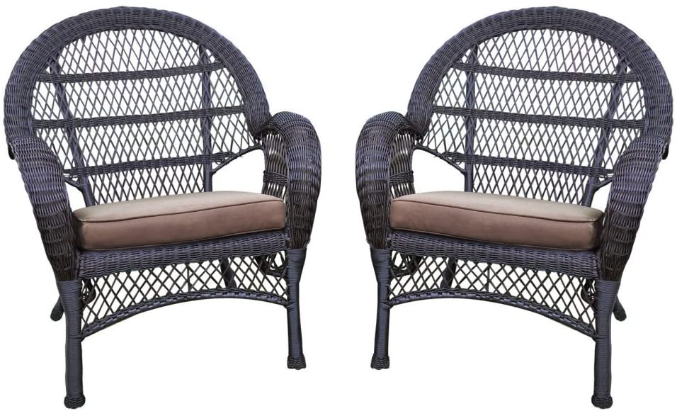 Jeco Wicker Chair in Espresso with Brown Cushion (Set of 4)
