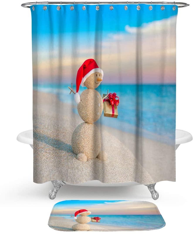 HMWR Christmas Snowman Shower Curtain Rug Bathroom Set,Dusk Beach Sea Ocean Water Resistant Fabric Shower Curtain with Soft Cotton Bath Floor Mat,Set of 2 Machine Washable,Blue