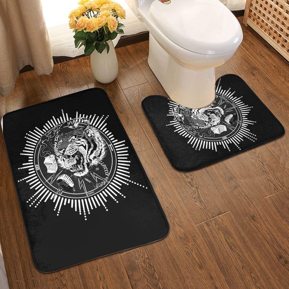 Blue Tiger Black Bathroom Antiskid Pad Non-Slip Bath Carpet Floor Mat Rug 2 Sets -Floor Mat+U-Shaped Pad, Toilet Washable Blanket Mats for Bathroom Home Shower