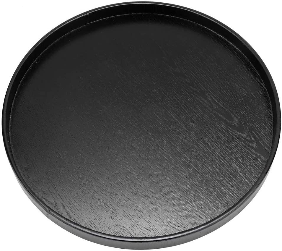 DERCLIVE Wooden Round Black Non-Slip Tea Tray Service Desk for Home Shop Office bar (Black 27 cm)