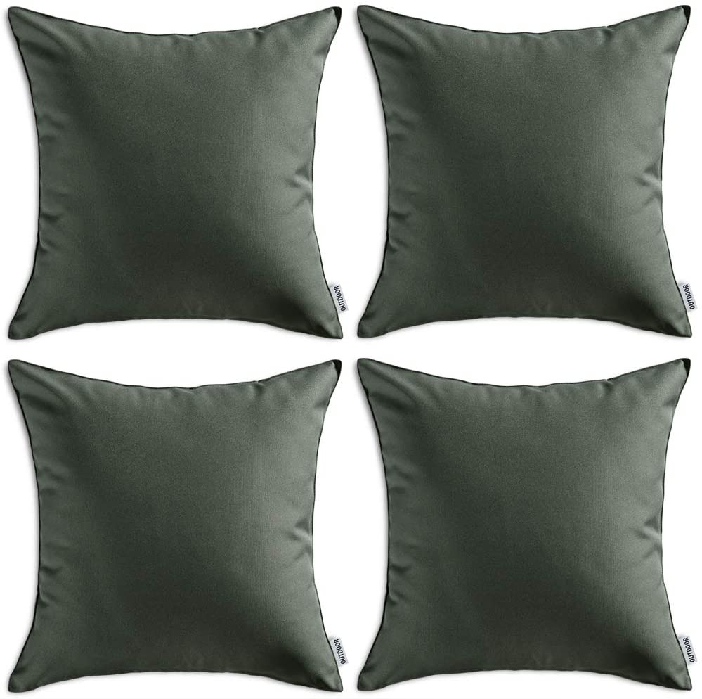 MIULEE Pack of 4 Decorative Outdoor Waterproof Pillow Covers Square Garden Cushion Cases PU Coating Throw Pillow Cover Shell for Patio Tent Park Couch 16x16 Inch Dark Green