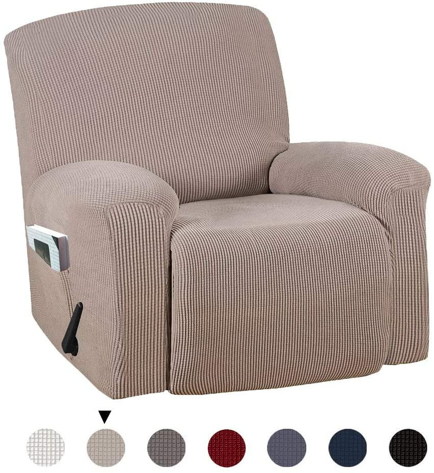 Marchtex Durable Soft High Stretch Jacquard 1 Piece Recliner Cover Sofa Slipcover Couch Covers Lycra Jacquard Furniture Protector Machine Washable Spandex Sofa Covers, Recliner, Sand