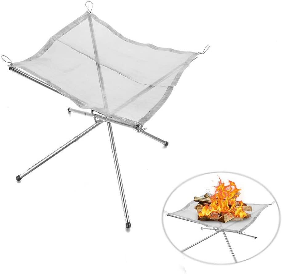 hermosoto Outdoor Fire Rack, Portable Camping Stainless Steel Folding Charcoal Rack Hand Warmer Stove Portable Fire Pit Wood Fire Rack