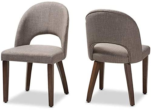 Baxton Studio Wesley Upholstered Dining Side Chair in Gray (Set of 2)