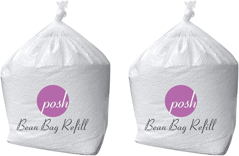 Posh Beanbags Bean Bag Refill, 100 L - 2 PK, Cool White
