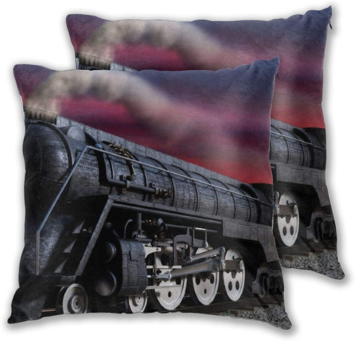 QSmx Set of 2 Patio Throw Pillow Case Steam Train Indoor/Outdoor All Weather Decorative Farmhouse Pillow Covers Cushion Case for Replacement, 20