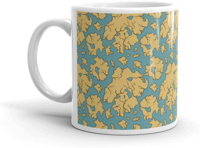Seamless Pattern With Old Nautical Map Pirate Tea Fun Mug Cup Ceramic 11oz