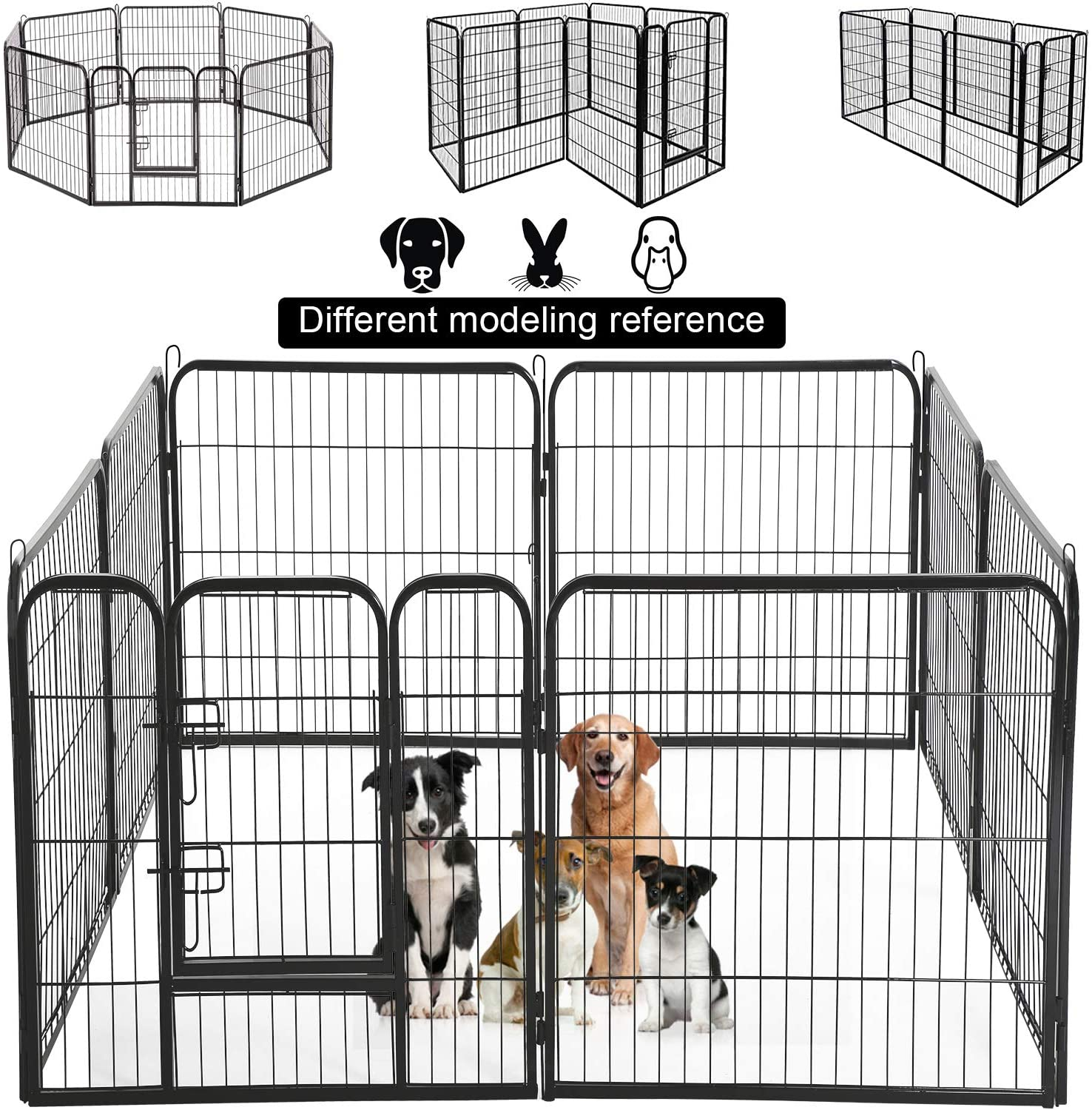 BMS Dog Pen Extra Large Indoor Outdoor Dog Fence Playpen Heavy Duty 8 Panels 24 32 40 Inches Exercise Pen Dog Crate Cage Kennel
