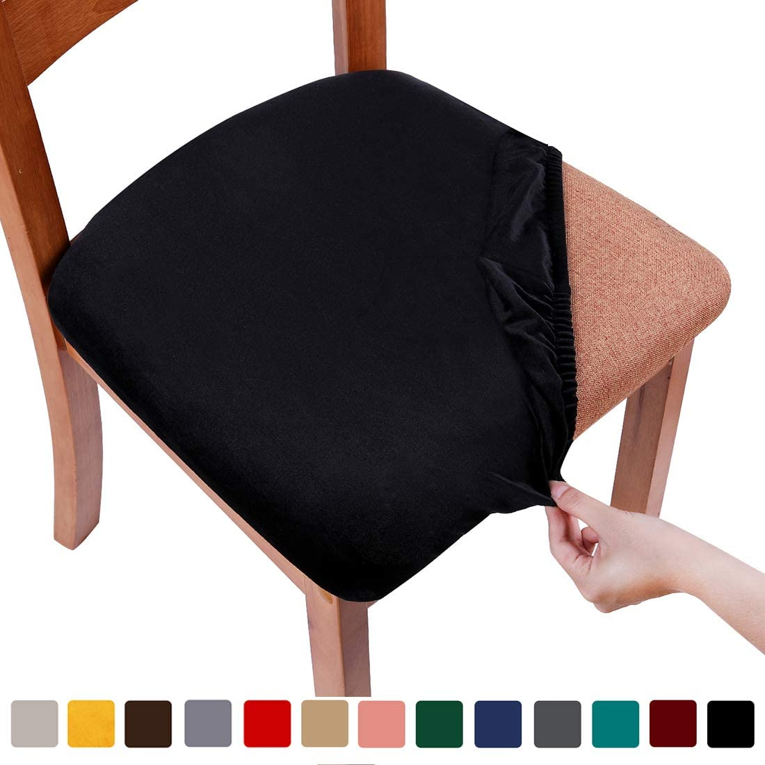 smiry Original Velvet Dining Chair Seat Covers, Stretch Fitted Dining Room Upholstered Chair Seat Cushion Cover, Removable Washable Furniture Protector Slipcovers with Ties - Set of 4, Black